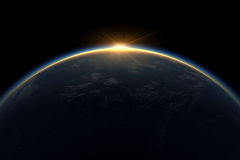 Planet's atmosphere as sun rises