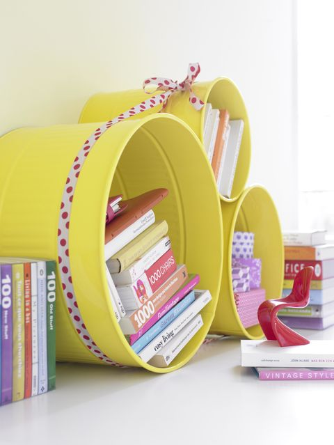 Shelf, Yellow, Pink, Shelving, Furniture, Room, Table, Paper product, Fashion accessory, Desk,