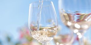 Summer white wine in glass on sunny day