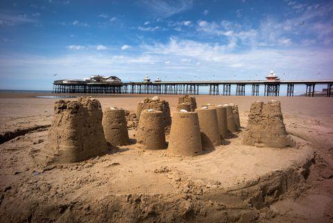 Sandcastles on beach