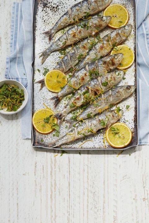 Grilled Sardines With Orange Polenta