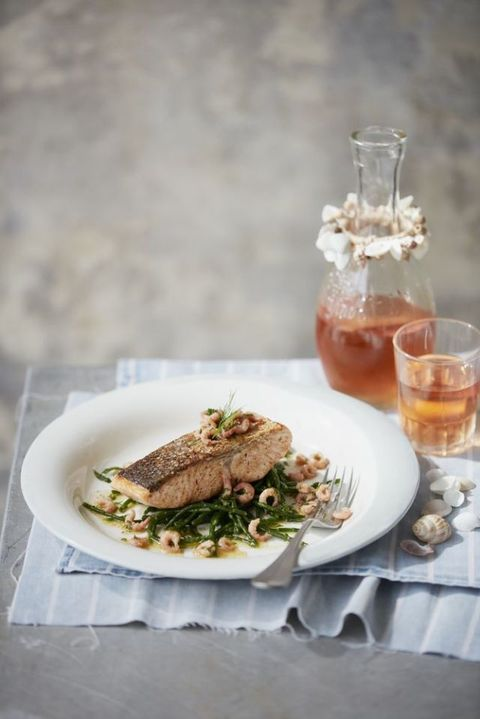 Pan-Friend Salmon with Brown Shrimp Butter and Samphire