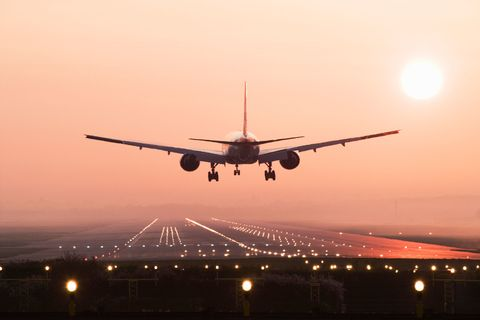 Plane takes off on runway