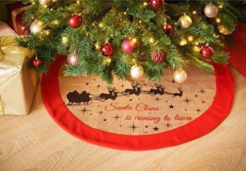 luxury jute christmas tree skirt amazon santa clause is coming to town