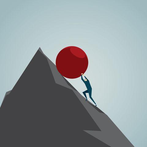 push ball up mountain stress