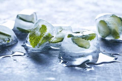 Frozen herbs in ice cubes