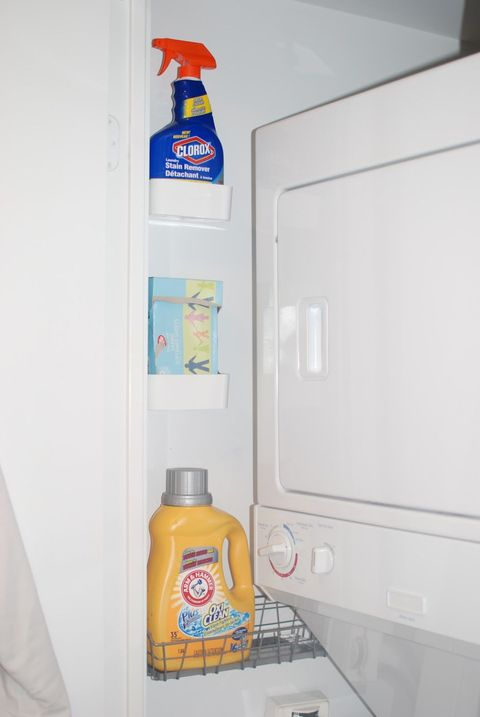 """<p>No room for a shelf? These little caddies are the perfect size for your cleaners, and they can fit on even the bittiest bare wall.</p><p><em data-redactor-tag=""""em""""><a href=""""http://wafflingdesign.blogspot.ca/2012/08/organizing-laundry-closet.html"""" target=""""_blank"""">See more at Waffling Design »</a></em><a href=""""http://wafflingdesign.blogspot.ca/2012/08/organizing-laundry-closet.html""""></a></p><p><strong data-verified=""""redactor"""" data-redactor-tag=""""strong"""">Shop a similar look:&nbsp;</strong><span class=""""redactor-invisible-space"""" data-verified=""""redactor"""" data-redactor-tag=""""span"""" data-redactor-class=""""redactor-invisible-space"""">plastic caddy ($14, <a href=""""https://www.amazon.com/Command-Shower-Water-Resistant-Frosted-BATH11-ES/dp/B00HDFXD90/"""" target=""""_blank"""" data-tracking-id=""""recirc-text-link"""">amazon.com</a>), wire basket ($24, <a href=""""https://www.amazon.com/Command-1-Caddy-4-Large-Water-Resistant-BATH31-SN-ES/dp/B01C60C4TQ"""" target=""""_blank"""" data-tracking-id=""""recirc-text-link"""">amazon.com</a>)</span><br></p>"""