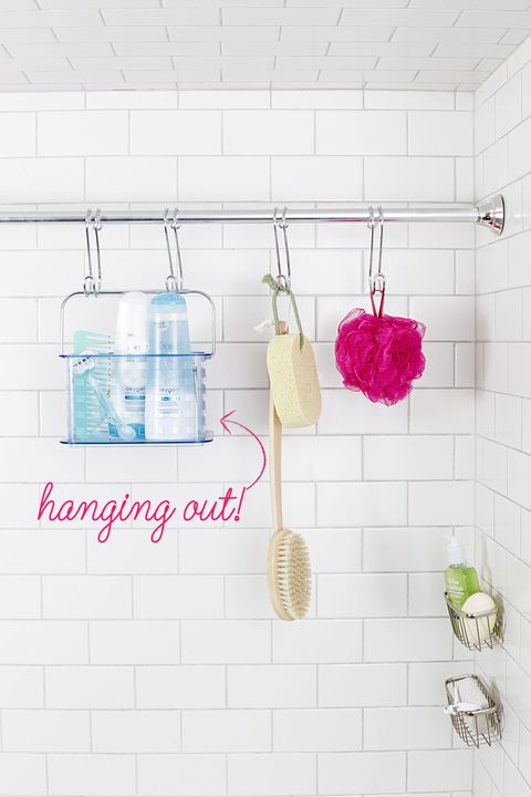 """<p>Instead of cramming conditioner on the bath&nbsp;edge, outfit the shower with a&nbsp;second rod near the wall. S-hooks keep loofahs and small caddies out of the way (and not falling all over the place).&nbsp;<span class=""""redactor-invisible-space"""" data-verified=""""redactor"""" data-redactor-tag=""""span"""" data-redactor-class=""""redactor-invisible-space""""></span></p><p><span class=""""redactor-invisible-space"""" data-verified=""""redactor"""" data-redactor-tag=""""span"""" data-redactor-class=""""redactor-invisible-space""""><strong data-redactor-tag=""""strong"""">Shop a similar look:</strong>&nbsp;S-hooks, <a href=""""https://www.amazon.co.uk/Teleost-Stainless-Rack-Thick-thickness-thick%EF%BC%9A2mm/dp/B01NBHK83S/ref=sr_1_4?s=kitchen&amp;ie=UTF8&amp;qid=1513336775&amp;sr=1-4&amp;keywords=metal+hooks"""" target=""""_blank"""" data-tracking-id=""""recirc-text-link"""">£13.99 for pack, Amazon</a><br></span></p>"""
