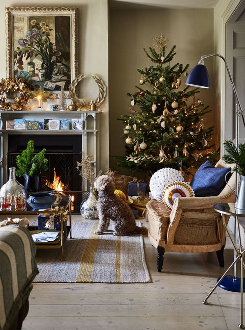 gold and indigo look elegant against a warm neutral backdrop for a contemporary - Decorating With Silver And Gold For Christmas