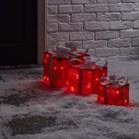 Freestanding 3D trio of presents light - Christmas lights