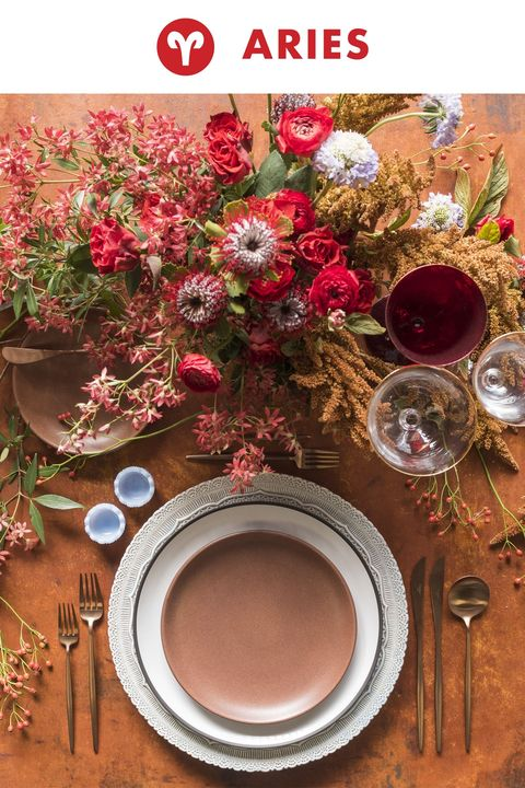 "<p>Aries are bold, fiery, and attention-grabbing, and they require a tangle of explosive blooms to match. To symbolise this energetic sign, this place setting incorporates festival bush, bronze amaranthus, scabiosa, banksia, roses, and ranunculus.</p><p><em data-redactor-tag=""em""></em></p>"
