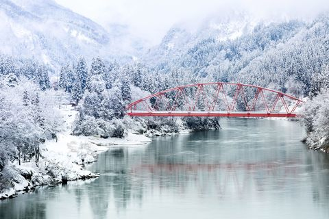 Winter, Water, Snow, Freezing, Natural landscape, Reflection, Mountain, Sky, River, Tree,