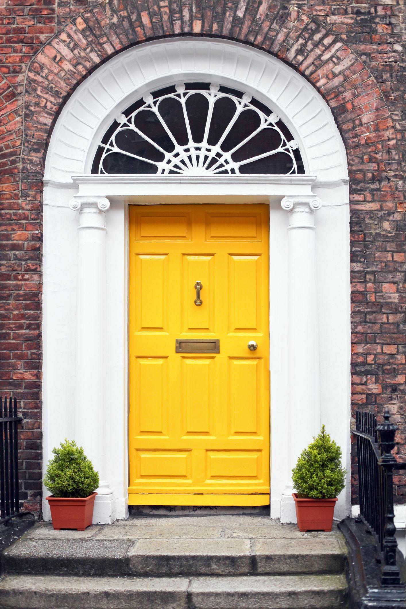 yellow front door & 10 most popular door colours in 2018 - Front door colour trends 2018
