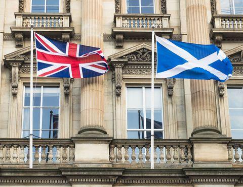 Union Flag and Scottish national flag