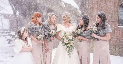 Clothing, Dress, Petal, Bridal clothing, Textile, Photograph, Bouquet, Wedding dress, Bride, Formal wear,