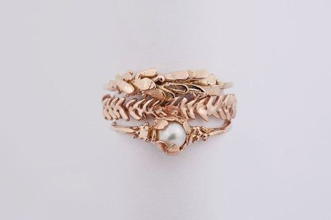 "<p>Brides and grooms are shunning traditional wedding rings in favour of a more intricate design, the results suggest. Views for <a href=""https://www.etsy.com/uk/listing/258608344/seaforest-stacking-ring-set?ref=hp_rv"" target=""_blank"">stacking rings</a> have increased by 68%&nbsp;since last year.</p><p>""These highly customisable sets allow fashion-forward brides to mix up their look on the daily and invite couples to mark anniversaries and other major milestones with special new pieces imbued with sentiment,"" Etsy trend expert <a href=""https://www.instagram.com/daynaisomjohnson/?hl=en"" target=""_blank"">Dayna Isom Johnson</a>says.</p>"
