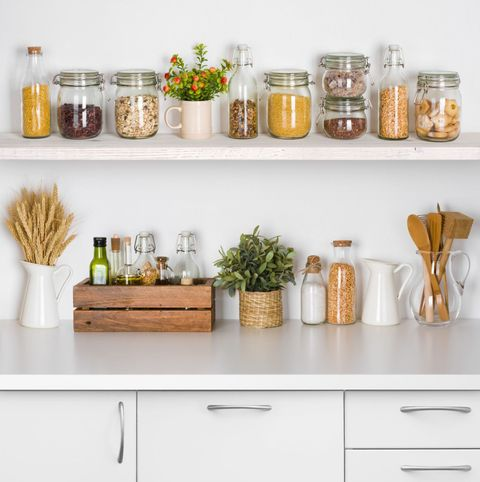 "<p>Make room for things to be put away and leave open shelves free to house only the most loved objects. Having the things you need to hand can help you create a mindful display that is both functional and beautiful. Jars of healthy pulses and wholegrains next to stacks of handcrafted ceramics also remind you to look after yourself and your body.</p><p><em data-redactor-tag=""em""><a href=""https://www.housebeautiful.com/uk/decorate/kitchen/news/g423/best-kitchen-design-trends/"" target=""_blank"">Read more on open shelving and hidden storage in the kitchen</a></em>.</p>"