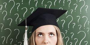 Woman wearing student cap