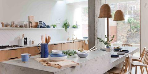 Room, Interior design, Ceiling, Countertop, Kitchen, Interior design, Light fixture, Grey, Houseplant, Plywood,
