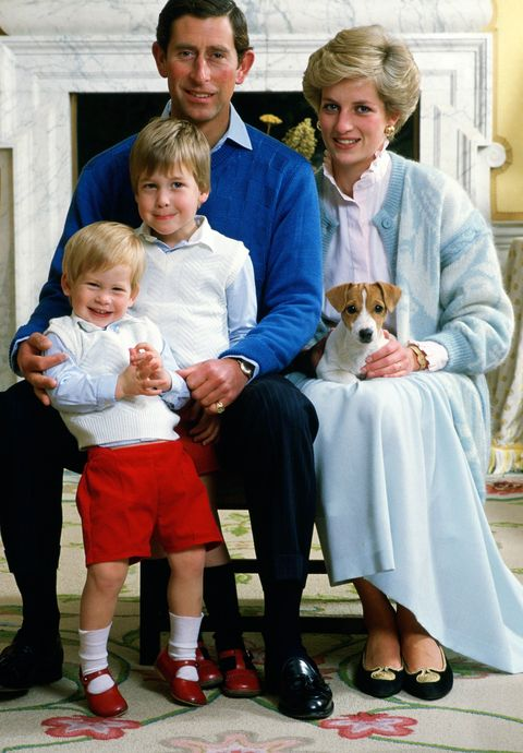 "<p>A cheeky Harry, two, poses for a family photo with Prince William, Prince Charles, Princess Diana, and Tigga the dog at their home in Kensington Palace. In the ITV and HBO documentary, <em data-redactor-tag=""em""><a href=""http://www.prima.co.uk/leisure/tv-and-film/a39789/prince-william-harry-memories-princess-diana-our-mother-her-life-and-legacy/"" data-tracking-id=""recirc-text-link"">Diana, Our Mother</a></em>, released ahead of the 20th anniversary of Diana's death in 2017, Harry said of his mother's wardrobe choices for the brothers, ""I genuinely think she got satisfaction out of dressing myself and William up in the most bizarre outfits – normally matching.""</p>"
