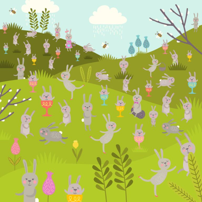Can you find the 3 Easter eggs hidden among the bunnies in this puzzle?