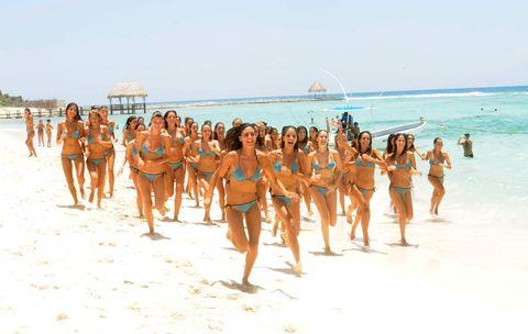 Body of water, Fun, People, Swimwear, People on beach, Swimsuit top, Summer, Bikini, Beach, Swimsuit bottom,
