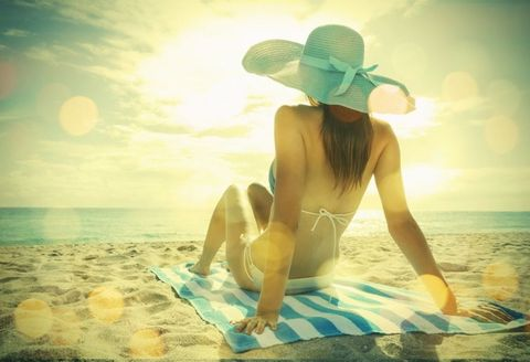 Hat, People in nature, Summer, Sunlight, Sun hat, Beauty, Art, Ocean, Thigh, People on beach,
