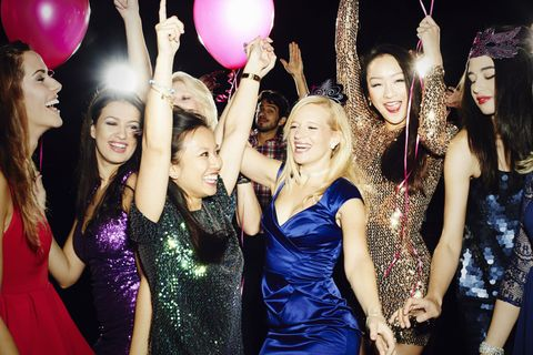 Smile, Dress, Balloon, Pink, Party supply, Facial expression, Party, Formal wear, Celebrating, Magenta,
