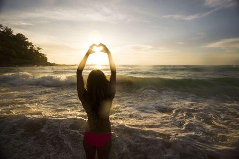 Sunlight, Summer, People in nature, Liquid, Beauty, Back, Swimsuit top, Ocean, Undergarment, Swimsuit bottom,