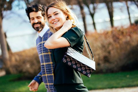 Smile, Happy, Bag, People in nature, Facial expression, Honeymoon, Luggage and bags, Love, Street fashion, Shoulder bag,