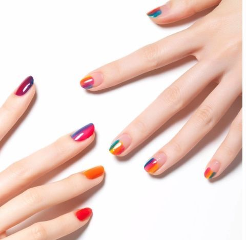 Blue, Finger, Skin, Nail, Red, Nail care, Nail polish, Orange, Manicure, Pink,