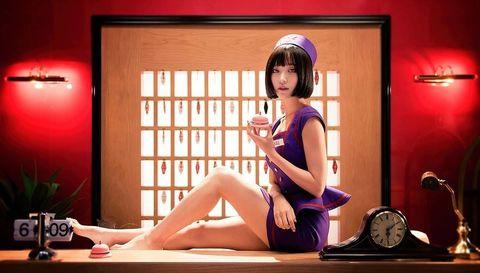 Human leg, Sitting, Bangs, Knee, Thigh, Black hair, Foot, Long hair, Houseplant, Japanese idol,