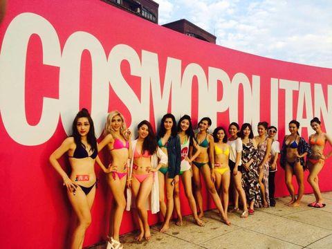 Leg, Pink, Logo, Youth, Thigh, Model, Waist, Abdomen, Fashion model, Advertising,