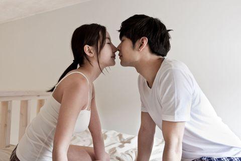 Photograph, Kiss, Happy, Comfort, Romance, Interaction, Love, Black hair, Neck, Gesture,