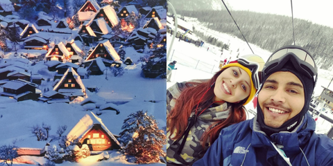 Winter, Smile, Jacket, Christmas decoration, Happy, Holiday, Snow, Travel, Youth, Selfie,