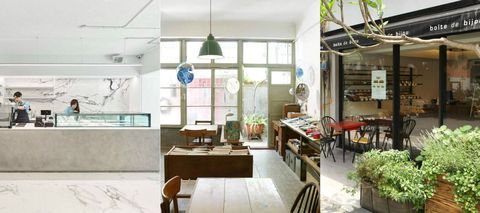 Interior design, Room, Furniture, Table, Floor, Ceiling, Interior design, Light fixture, Chair, Flowerpot,