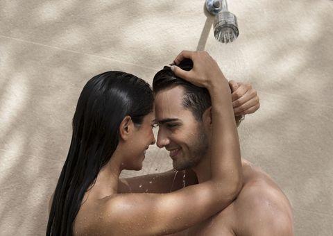 Beauty, Shower, Hand, Photography, Romance, Love, Muscle, Plumbing fixture, Black hair,