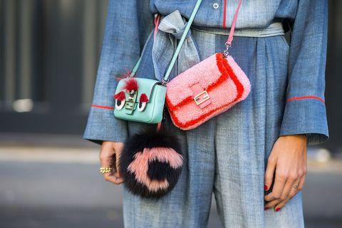 Street fashion, Red, Green, Fashion, Jeans, Fur, Textile, Denim, Bag, Design,