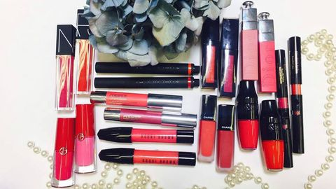 Cosmetics, Red, Lip gloss, Lipstick, Beauty, Pink, Material property, Gloss, Tints and shades, Liquid,
