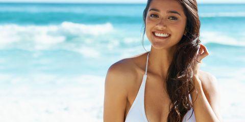 Bikini, Hair, Facial expression, Skin, Beauty, Swimwear, Vacation, Hairstyle, Summer, Smile,