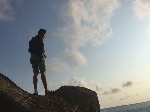 Sky, Cloud, Standing, Sea, Human, Rock, Horizon, Ocean, Photography, Cliff,