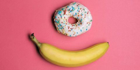 Banana, Pink, Banana family, Fruit, Food, Plant, Sweetness, Still life photography, Peach, Illustration,