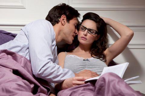 Romance, Forehead, Glasses, Interaction, Hug, Love, Comfort, Sitting, Reading, Fun,