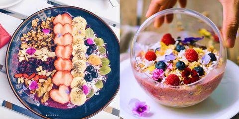 Food, Cuisine, Dish, Fruit salad, Sweetness, Ingredient, Breakfast cereal, Vegetarian food, Superfood, Dessert,