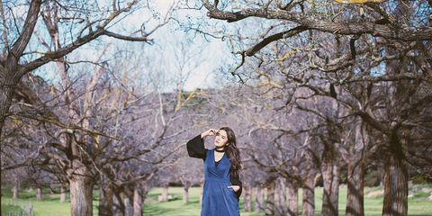 People in nature, Photograph, Tree, Branch, Dress, Yellow, Spring, Sky, Woody plant, Photography,