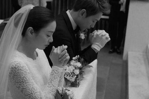 Photograph, Bride, Wedding dress, Veil, Black, Facial expression, Bridal veil, Bridal clothing, Gown, Bridal accessory,