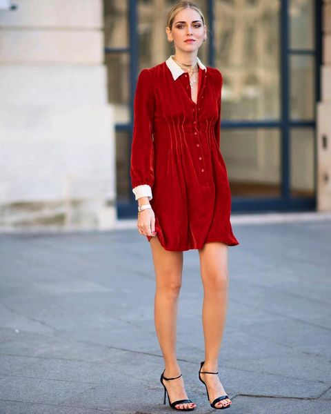 Clothing, Fashion model, Street fashion, Shoulder, Dress, Red, Fashion, Neck, Cocktail dress, Sleeve,