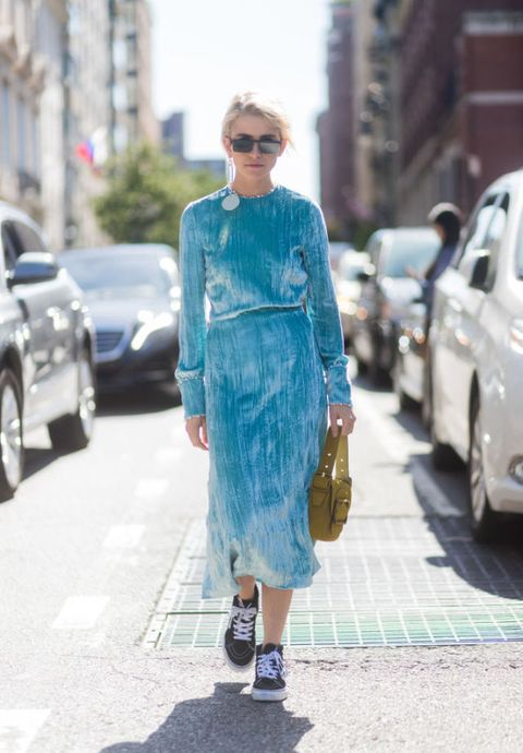 Clothing, Street fashion, Fashion, Turquoise, Denim, Blue, Snapshot, Dress, Footwear, Electric blue,