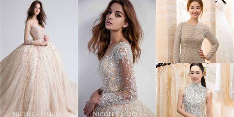 Clothing, Dress, Gown, Fashion model, Wedding dress, Shoulder, Cocktail dress, A-line, Fashion, Neck,