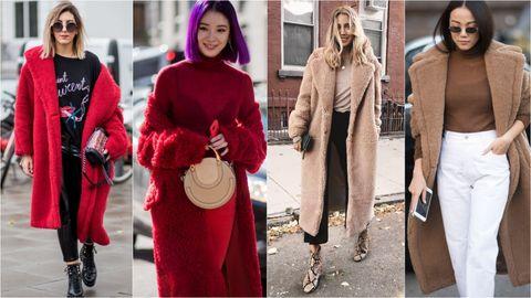 Clothing, Red, Street fashion, Pink, Fashion, Outerwear, Maroon, Fur, Coat, Magenta,